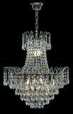 Candelabro de prata contemporâneo isolado no fundo preto Crystal Chandelier imagens de stock royalty free