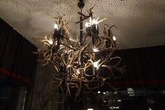 Candelabro velho feito do chifre da rena Fotografia de Stock