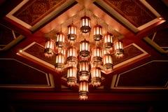 Candelabros antigos no teto na noite Imagem de Stock Royalty Free