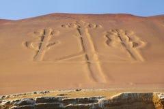 Candelabros dos Andes na baía de Pisco, Peru imagem de stock royalty free