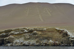 Candelabrum, Ballestas islands, Peru Royalty Free Stock Photography