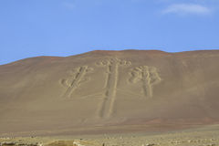 Candelabrum in Paracas national park, Peru Royalty Free Stock Image