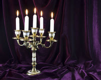 Candelabrum  on velvet Royalty Free Stock Photos