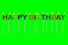 Candele del testo di buon compleanno isolate Fotografia Stock Libera da Diritti
