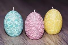 Candele dell'uovo di Pasqua Fotografia Stock