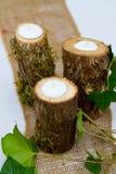 Candele della decorazione di ricevimento nuziale Fotografie Stock Libere da Diritti