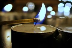 Candele della luce del tè di illuminazione Fotografia Stock
