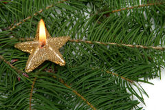 Candele della stella di natale Fotografia Stock