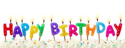Candele della torta di compleanno Fotografia Stock Libera da Diritti