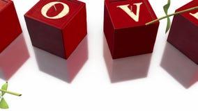 candele di amore 3D e rose di caduta nel fondo bianco royalty illustrazione gratis