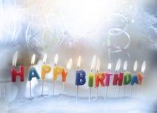 Candele di buon compleanno Fotografie Stock