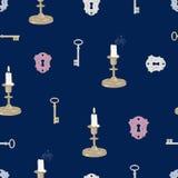 Candele di chiavi e modello senza cuciture delle serrature Immagine Stock Libera da Diritti