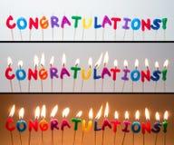 Candele di congratulazioni Immagini Stock