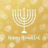 Candele di Menorah sul fondo dorato di Bokeh Segno felice di Chanukah Fotografia Stock Libera da Diritti