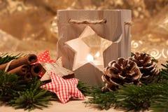 Candele di natale della tabella decoration Fotografie Stock