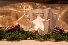 Candele di natale della tabella decoration Fotografia Stock