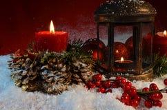 Candele di notte di Natale Fotografia Stock