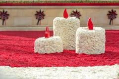 Candele fatte con i fiori Fotografia Stock