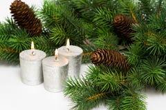 Candele festive d'argento Immagine Stock Libera da Diritti