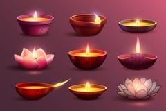 Candele festive di Diwali messe illustrazione vettoriale