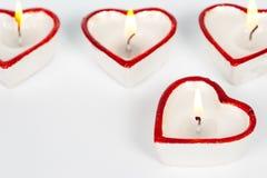 Candele a forma di del cuore Fotografie Stock