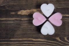 Candele a forma di del cuore Immagini Stock