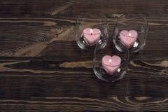Candele a forma di del cuore Fotografia Stock