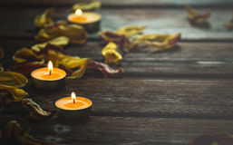 Candele gialle e petali secchi del fiore Immagini Stock Libere da Diritti