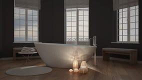 Candele illuminate dentro un bagno minimalista, interi di zen della stazione termale fotografia stock