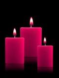 Candele illuminate di natale Immagini Stock