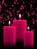 Candele illuminate di natale Immagine Stock
