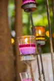 Candele nei supporti di candela di vetro Immagine Stock Libera da Diritti