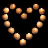 Candele nella figura del cuore Fotografie Stock Libere da Diritti