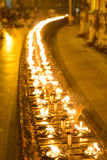 Candele nella pagoda di Shwedagon, Rangoon, Myanmar Fotografia Stock
