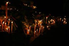 Candele rituali che fiancheggiano con il loto ed altri fiori immagine stock