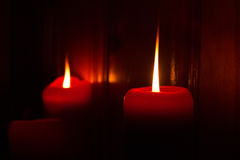Candele rosse Burning Fotografie Stock