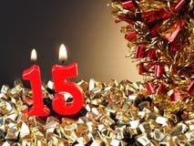 Candele rosse che mostrano Nr 15 Immagini Stock