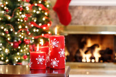Candele rosse del fiocco di neve Fotografia Stock Libera da Diritti