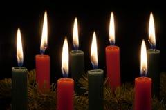 Candele rosse e verdi di Natale Fotografia Stock Libera da Diritti