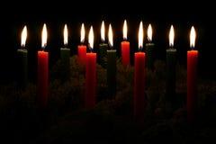 Candele rosse e verdi di Natale Immagine Stock