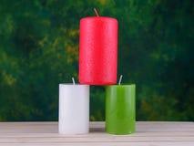candele sul legno Fotografia Stock Libera da Diritti
