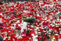 Candele sul quadrato di Wenceslas Fotografie Stock Libere da Diritti
