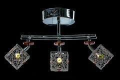 Candeliere delicato delle lampade di colore isolate sul nero Fotografie Stock Libere da Diritti