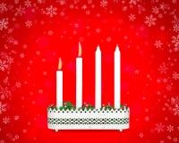 Candeliere di arrivo con due candele brucianti Fotografia Stock