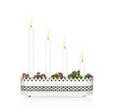 Candeliere di arrivo con tutte e quattro le candele accese Fotografie Stock