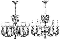 Candeliere di Rich Baroque Classic Progettazione accessoria della decorazione di lusso Schizzo dell'illustrazione di vettore illustrazione vettoriale