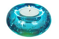 Candeliere di vetro isolato su priorità bassa bianca Fotografia Stock