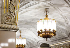 Candeliere in metropolitana di Mosca Fotografia Stock Libera da Diritti