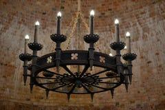 Candeliere in rovine del castello in Turaida Fotografia Stock Libera da Diritti