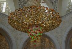 Candeliere in Sheikh Zayed Grand Mosque, Abu Dhabi, UAE Fotografia Stock Libera da Diritti